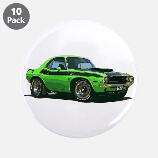 "BabyAmericanMuscleCar_70CHLGR_green 3.5"" Button (1"