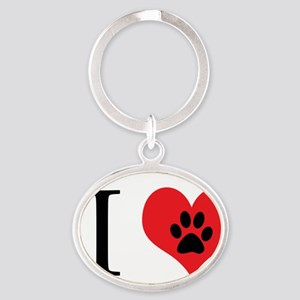 I Love Dogs Oval Keychain