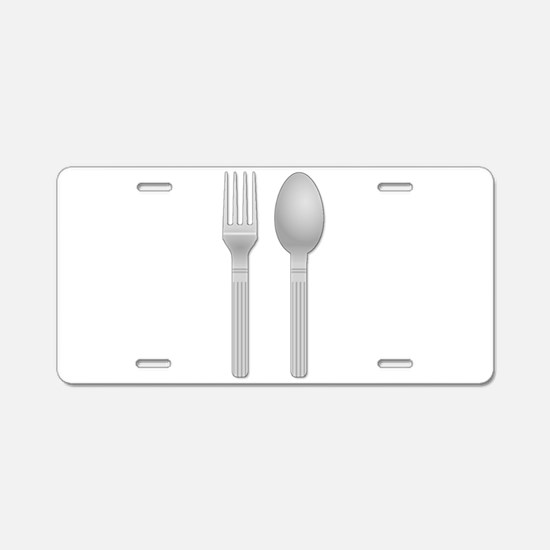 Fork and Spoon Aluminum License Plate