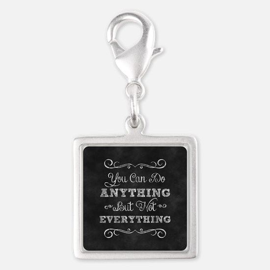You Can Do Anything Silver Square Charm