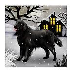FLAT COATED RETRIEVER DOG Tile Coaster