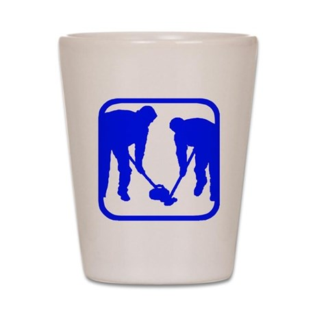 Curling Players Shot Glass