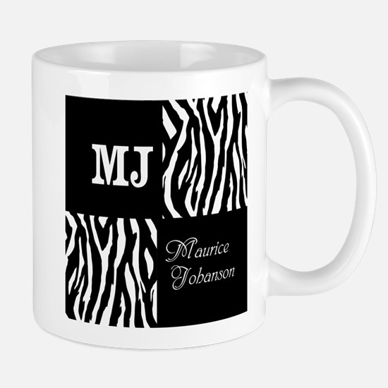 Black And White Animal Print Monogram Mug