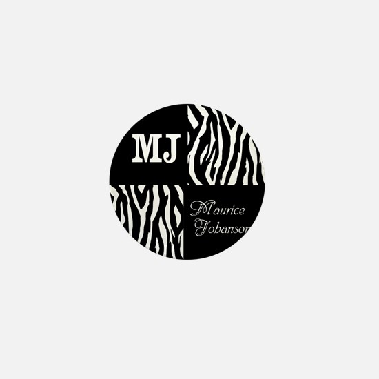 Black And White Animal Print Monogram Mini Button
