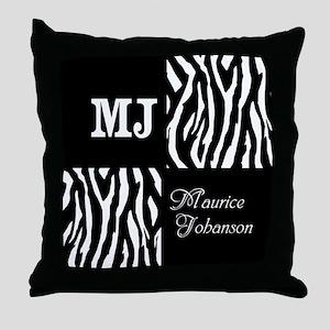 Black And White Animal Print Monogram Throw Pillow