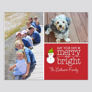Holiday Photo Card Bright Red Posters