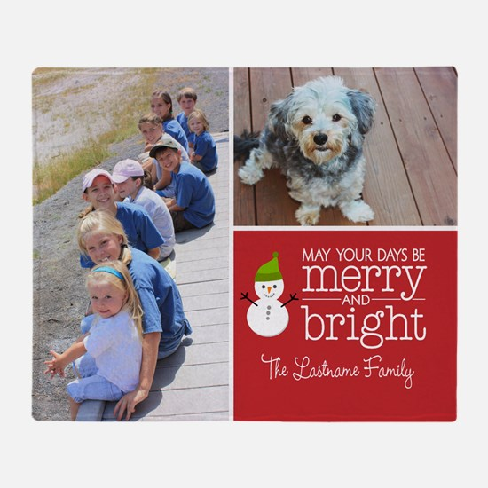Holiday Photo Card Bright Red Throw Blanket
