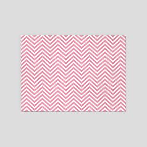 Thin Chevrons Pink White 5'x7'Area Rug