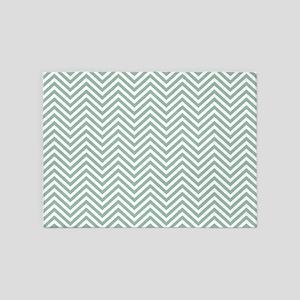 Thin Chevrons Teal Blue White 5'x7'Area Rug