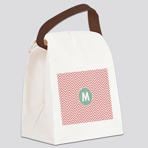 Coral Mint Chevrons Monogram Canvas Lunch Bag