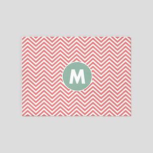 Coral Mint Chevrons Monogram 5'x7'Area Rug
