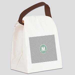 Mint Gray Chevrons Monogram Canvas Lunch Bag