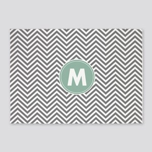 Mint Gray Chevrons Monogram 5'x7'Area Rug