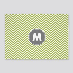 Lime Gray Chevrons Monogram 5'x7'Area Rug