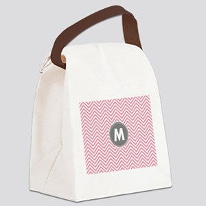 Pink Gray Chevrons Monogram Canvas Lunch Bag