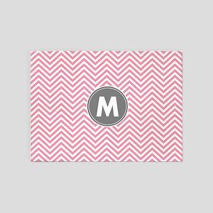 Pink Gray Chevrons Monogram 5'x7'Area Rug