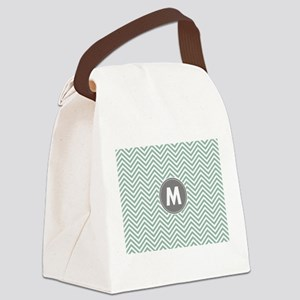 Teal Gray Chevrons Monogram Canvas Lunch Bag