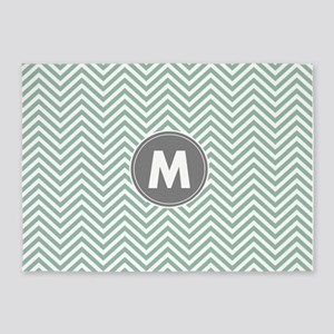 Teal Gray Chevrons Monogram 5'x7'Area Rug
