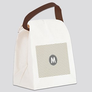 Linen Gray Chevrons Monogram Canvas Lunch Bag