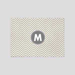 Linen Gray Chevrons Monogram 5'x7'Area Rug