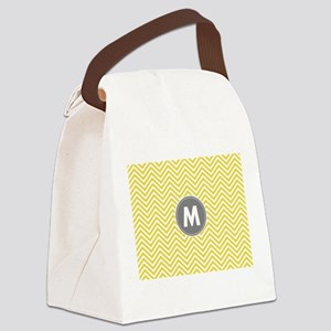 Yellow Gray Chevrons Monogram Canvas Lunch Bag