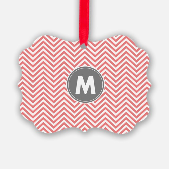 Coral Gray Chevrons Monogram Ornament