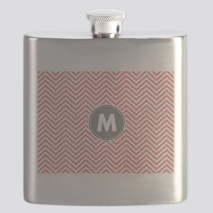 Coral Gray Chevrons Monogram Flask