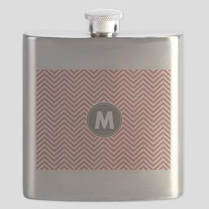 Coral Gray Chevrons Monogram Flask