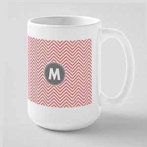 Coral Gray Chevrons Monogram Mugs