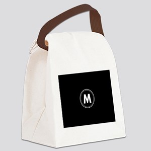 Black White Mod Monogram Circle Canvas Lunch Bag