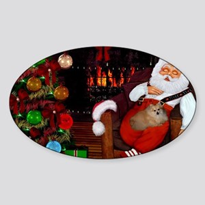 Sleeping Santa Claus with dog Sticker