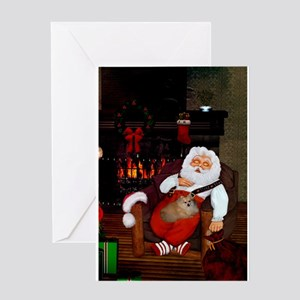 Sleeping Santa Claus with dog Greeting Cards