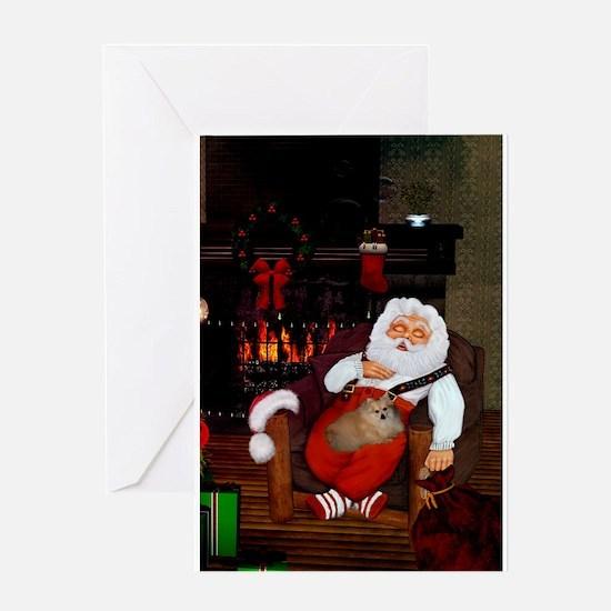 Sleeping Santa Claus with dog Greeting Cards