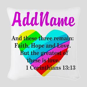 1 CORINTHIANS 13:13 Woven Throw Pillow