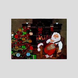 Sleeping Santa Claus with dog 5'x7'Area Rug