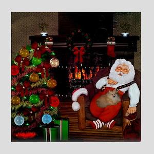 Sleeping Santa Claus with dog Tile Coaster