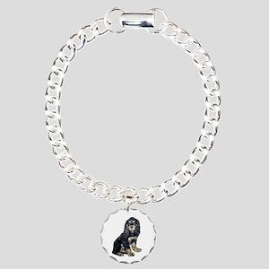 Cocker-black-tan Charm Bracelet, One Charm