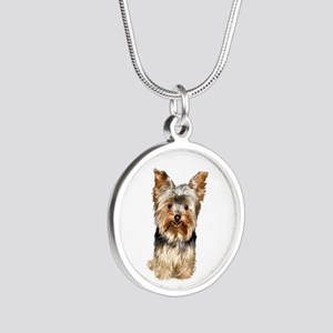 Yorkshire Terrier (#17) Silver Round Necklace
