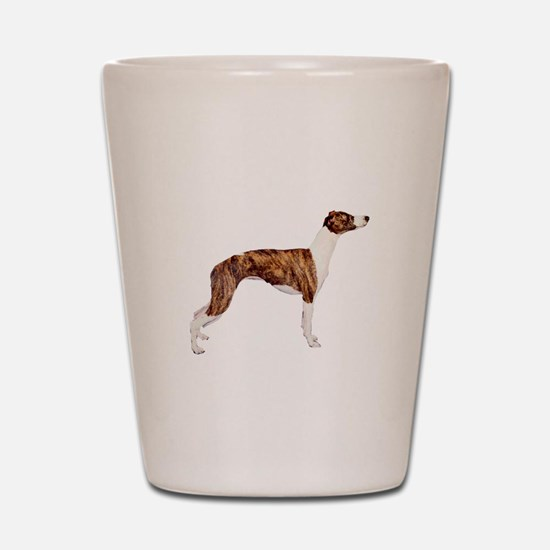 Whippet (brindle-Wht) Shot Glass