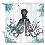 Blue Grunge Octopus Shower Curtain