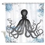 Light Blue Grunge Octopus Shower Curtain
