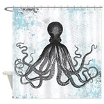 Blue Grunge Octopus (Hard Splats) Shower Curtain
