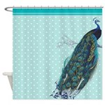 Mint Polka Dot Peacock Shower Curtain