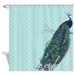 Peacock Turquoise Polka Dot Shower Curtain