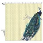 Gold Peacock Polka Dot Shower Curtain