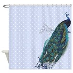 Pastel Blue Peacock Shower Curtain