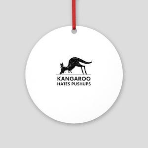 Kangaroo Hates Pushups Round Ornament