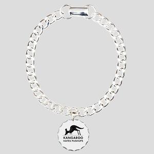 Kangaroo Hates Pushups Charm Bracelet, One Charm