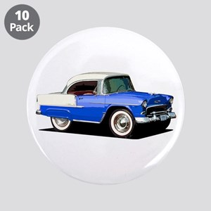 "BabyAmericanMuscleCar_55BelR_Xmas_Blue 3.5"" Button"