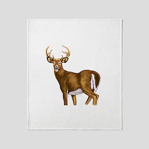 White Tail Deer Buck Throw Blanket